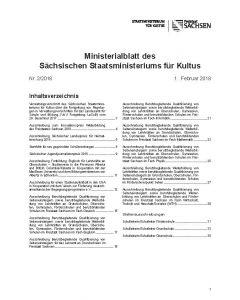 Ministerialblatt des Sächsischen Staatsministeriums für Kultus Heft 01/2019