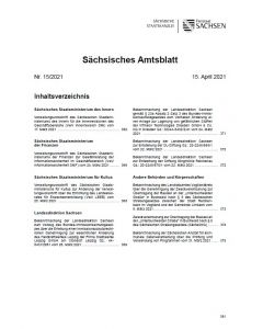 Sächsisches Amtsblatt Heft 15/2021