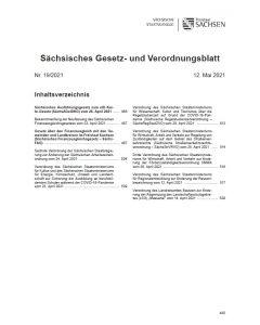 Sächsisches Gesetz- und Verordnungsblatt Heft 19/2021