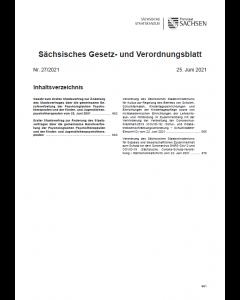 Sächsisches Gesetz- und Verordnungsblatt Heft 27/2021