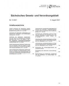 Sächsisches Gesetz- und Verordnungsblatt Heft 31/2021