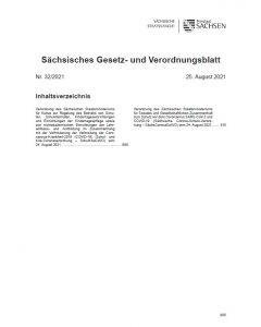 Sächsisches Gesetz- und Verordnungsblatt Heft 32/2021