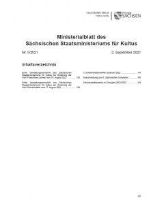 Ministerialblatt des Sächsischen Staatsministeriums für Kultus Heft 9/2021