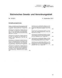 Sächsisches Gesetz- und Verordnungsblatt Heft 33/2021