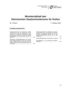 Ministerialblatt des Sächsischen Staatsministeriums für Kultus Heft 10/2021
