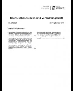 Sächsisches Gesetz- und Verordnungsblatt Heft 34/2021
