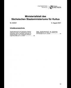 Ministerialblatt des Sächsischen Staatsministeriums für Kultus Heft 8/2021