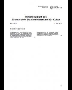 Ministerialblatt des Sächsischen Staatsministeriums für Kultus Heft 7/2021