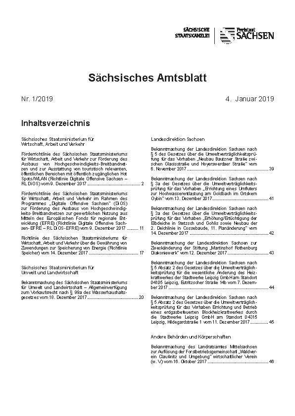 Sächsisches Amtsblatt mit Amtlichem Anzeiger (Abonnement einschl. Sonderdrucke)