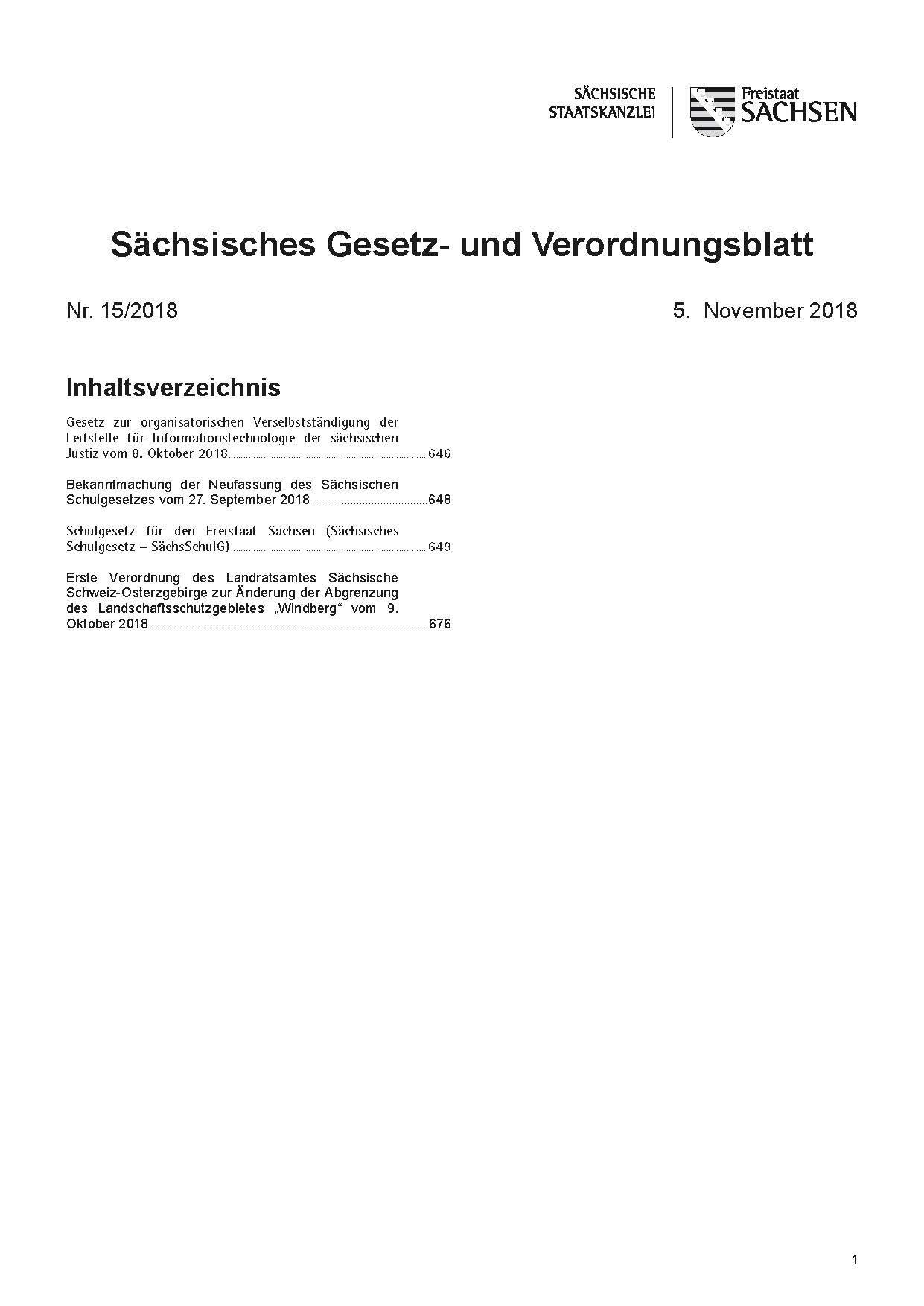 Sächsisches Gesetz- und Verordnungsblatt Heft 18/2019