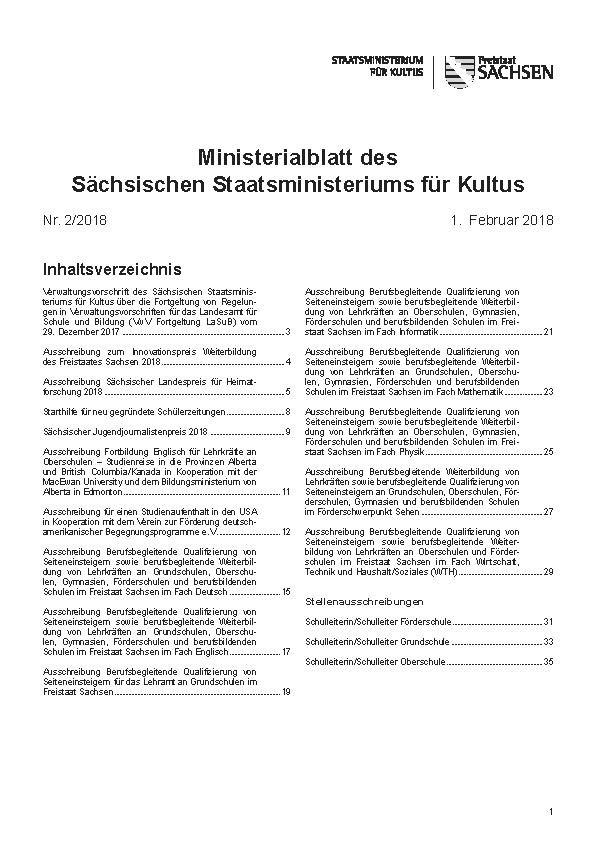 Ministerialblatt des Sächsischen Staatsministeriums für Kultus Heft 8/2020