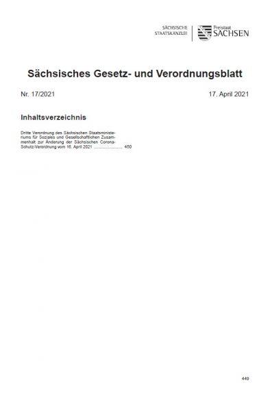 Sächsisches Gesetz- und Verordnungsblatt Heft 17/2021