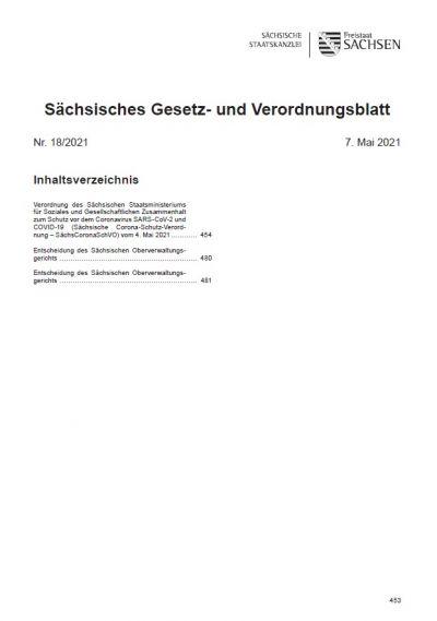 Sächsisches Gesetz- und Verordnungsblatt Heft 18/2021