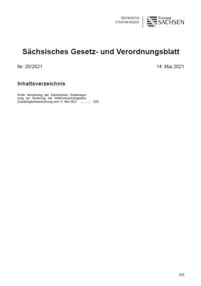 Sächsisches Gesetz- und Verordnungsblatt Heft 20/2021