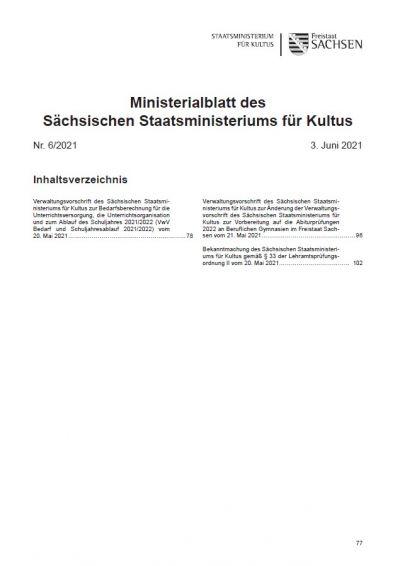 Ministerialblatt des Sächsischen Staatsministeriums für Kultus Heft 6/2021