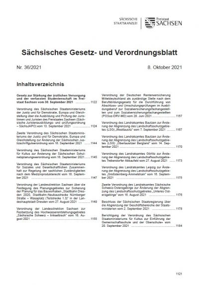 Sächsisches Gesetz- und Verordnungsblatt Heft 36/2021
