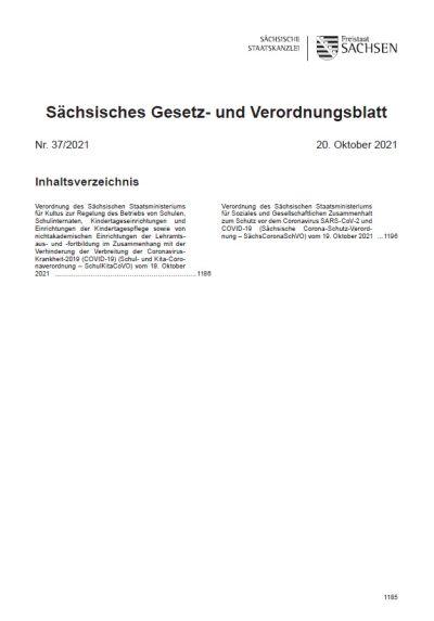 Sächsisches Gesetz- und Verordnungsblatt Heft 37/2021