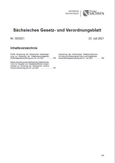 Sächsisches Gesetz- und Verordnungsblatt Heft 30/2021